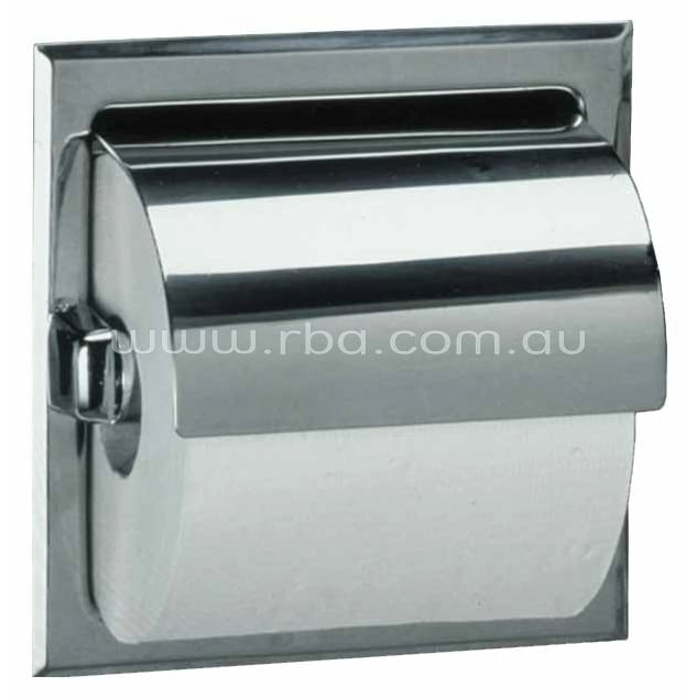 Bobrick Recessed Single Toilet holder With Stainless Steel Hood