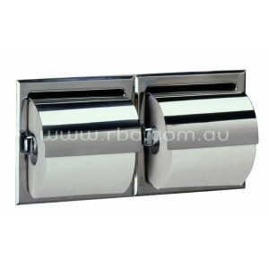 Bobrick B6997 Recessed Double Toilet Roll Holder with Hood | RBA Group