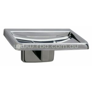 Soap dish with two drain holes and two ridges to support bar of soap