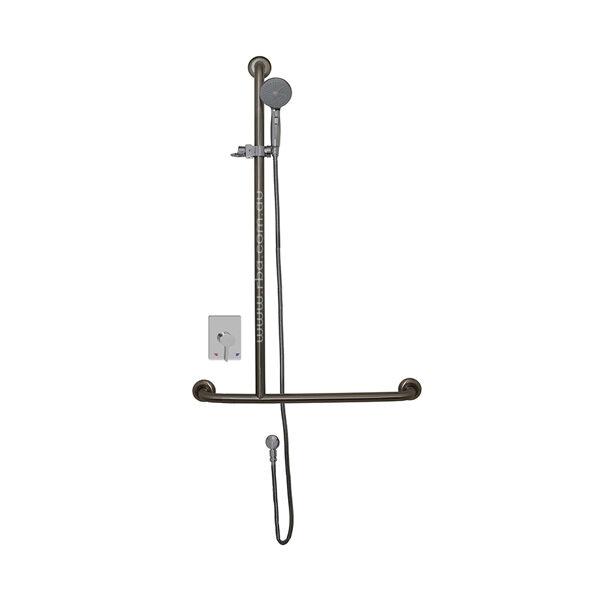 Shower T-Rail with Mixer, Handset, Slider & Hose