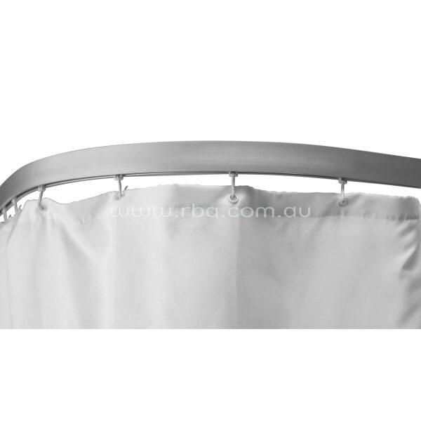 90&deg Angled Shower Curtain Track - Aluminium Track with Matching Taffeta Shower Curtain [ RBA4117-999-001]