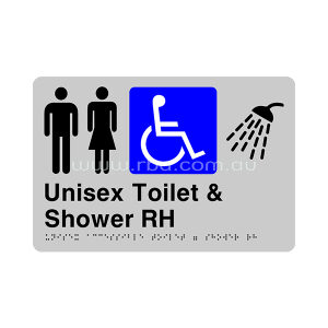 Braille & Tactile Sign - Unisex Accessible Toilet & Shower Right Hand